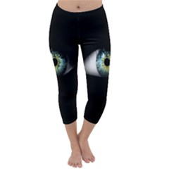 Eye On The Black Background Capri Winter Leggings