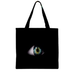 Eye On The Black Background Zipper Grocery Tote Bag