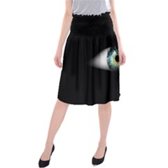 Eye On The Black Background Midi Beach Skirt