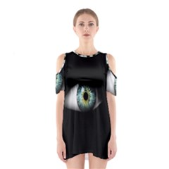 Eye On The Black Background Shoulder Cutout One Piece