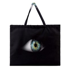 Eye On The Black Background Zipper Large Tote Bag