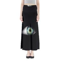 Eye On The Black Background Maxi Skirts