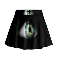 Eye On The Black Background Mini Flare Skirt