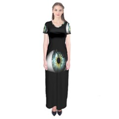 Eye On The Black Background Short Sleeve Maxi Dress
