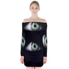 Eye On The Black Background Long Sleeve Off Shoulder Dress