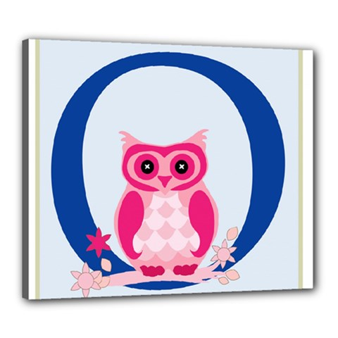 Alphabet Letter O With Owl Illustration Ideal For Teaching Kids Canvas 24  x 20