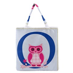 Alphabet Letter O With Owl Illustration Ideal For Teaching Kids Grocery Tote Bag