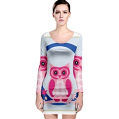 Alphabet Letter O With Owl Illustration Ideal For Teaching Kids Long Sleeve Bodycon Dress