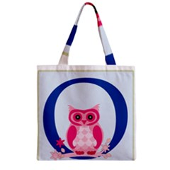 Alphabet Letter O With Owl Illustration Ideal For Teaching Kids Zipper Grocery Tote Bag