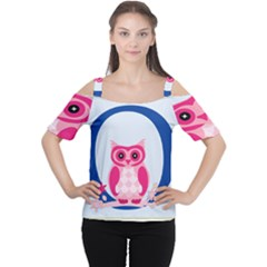 Alphabet Letter O With Owl Illustration Ideal For Teaching Kids Women s Cutout Shoulder Tee