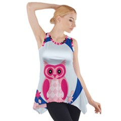 Alphabet Letter O With Owl Illustration Ideal For Teaching Kids Side Drop Tank Tunic