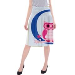 Alphabet Letter O With Owl Illustration Ideal For Teaching Kids Midi Beach Skirt