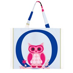 Alphabet Letter O With Owl Illustration Ideal For Teaching Kids Zipper Large Tote Bag