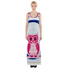 Alphabet Letter O With Owl Illustration Ideal For Teaching Kids Maxi Thigh Split Dress