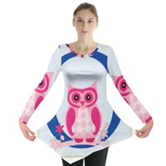 Alphabet Letter O With Owl Illustration Ideal For Teaching Kids Long Sleeve Tunic