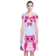 Alphabet Letter O With Owl Illustration Ideal For Teaching Kids Short Sleeve Front Wrap Dress