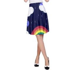 Rainbow Animation A-Line Skirt