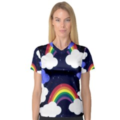 Rainbow Animation Women s V Neck Sport Mesh Tee