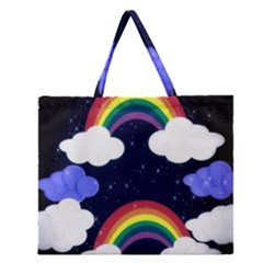 Rainbow Animation Zipper Large Tote Bag