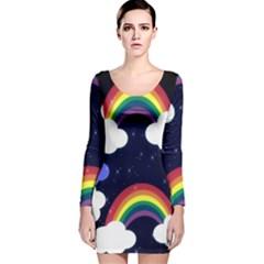 Rainbow Animation Long Sleeve Velvet Bodycon Dress