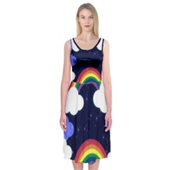 Rainbow Animation Midi Sleeveless Dress