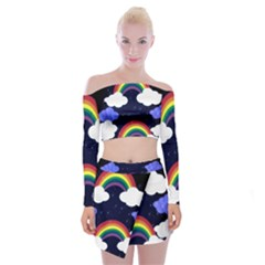 Rainbow Animation Off Shoulder Top With Skirt Set