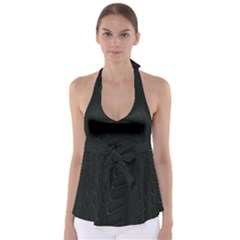 Abstract Clutter Babydoll Tankini Top
