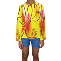 Butterfly Background Wallpaper Texture Kids  Long Sleeve Swimwear