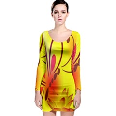 Butterfly Background Wallpaper Texture Long Sleeve Bodycon Dress