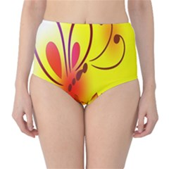Butterfly Background Wallpaper Texture High-Waist Bikini Bottoms