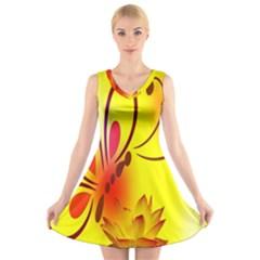 Butterfly Background Wallpaper Texture V Neck Sleeveless Skater Dress