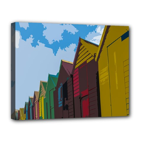 Brightly Colored Dressing Huts Canvas 14  x 11