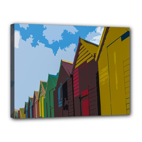 Brightly Colored Dressing Huts Canvas 16  x 12