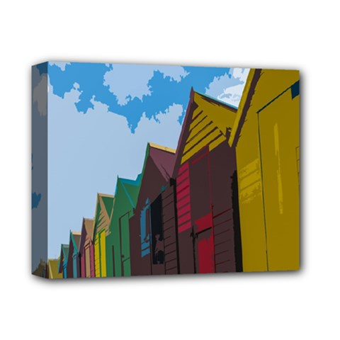 Brightly Colored Dressing Huts Deluxe Canvas 14  X 11
