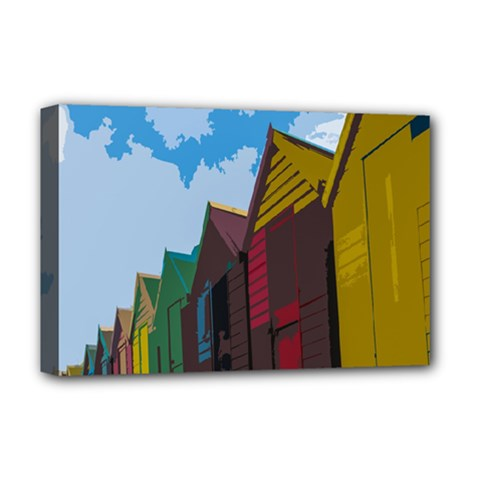 Brightly Colored Dressing Huts Deluxe Canvas 18  X 12