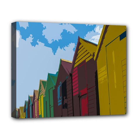 Brightly Colored Dressing Huts Deluxe Canvas 20  x 16