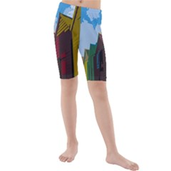 Brightly Colored Dressing Huts Kids  Mid Length Swim Shorts