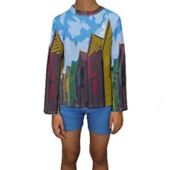 Brightly Colored Dressing Huts Kids  Long Sleeve Swimwear