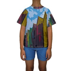 Brightly Colored Dressing Huts Kids  Short Sleeve Swimwear