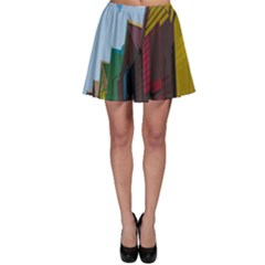 Brightly Colored Dressing Huts Skater Skirt