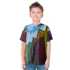 Brightly Colored Dressing Huts Kids  Cotton Tee