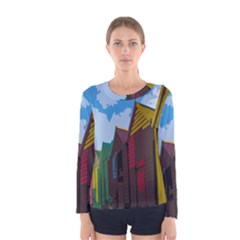 Brightly Colored Dressing Huts Women s Long Sleeve Tee