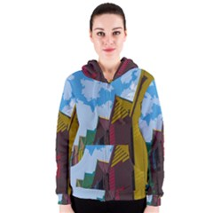 Brightly Colored Dressing Huts Women s Zipper Hoodie