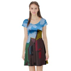 Brightly Colored Dressing Huts Short Sleeve Skater Dress