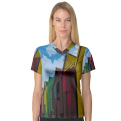 Brightly Colored Dressing Huts Women s V-Neck Sport Mesh Tee