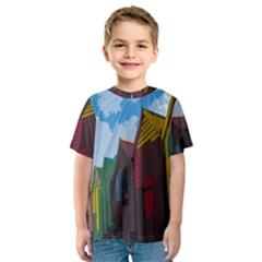 Brightly Colored Dressing Huts Kids  Sport Mesh Tee