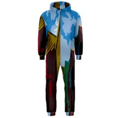 Brightly Colored Dressing Huts Hooded Jumpsuit (men)