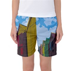 Brightly Colored Dressing Huts Women s Basketball Shorts