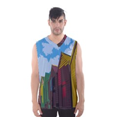 Brightly Colored Dressing Huts Men s Basketball Tank Top