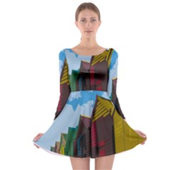 Brightly Colored Dressing Huts Long Sleeve Skater Dress